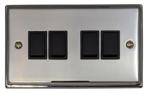 G&H DC4B Deco Plate Polished Chrome 4 Gang 1 or 2 Way Rocker Light Switch